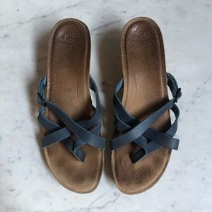 UGG Blue Leather Strappy Sandals Heels Size 9